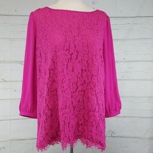 JODIFL Lace Tassel Pink blouse